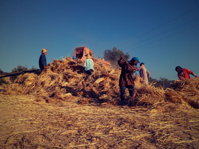 Farmers Working With Hay On Field Against Sky