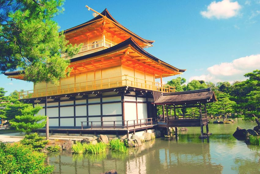 Architecture Built Structure Water Building Exterior Tree Outdoors Sky Lake Day Nature Japan Golden Golden Pavilion  Kyoto