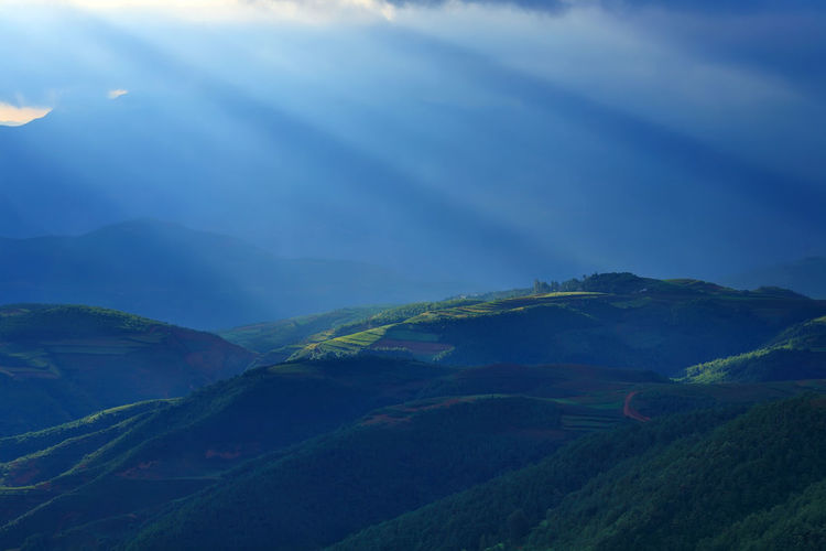 Beautiful landscape of mountain range with beam light in morning at Hongtudi in Dongchuan, Yunnan, Kunming of China Mountain Tranquil Scene Beauty In Nature Scenics - Nature Tranquility Landscape Environment Mountain Range No People Sky Nature Non-urban Scene Cloud - Sky Green Color Day Idyllic Land Plant Outdoors Remote Mountain Peak Childhood China