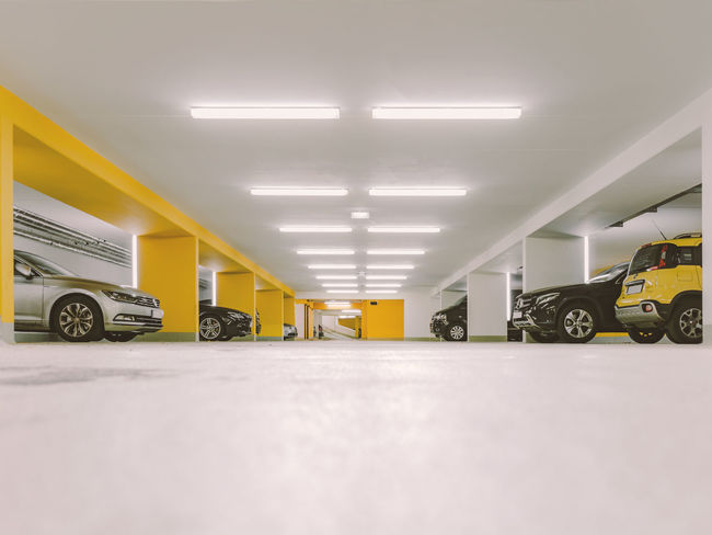 Underground parking Architectural Column Architecture Built Structure Car Clean Futuristic Futuristic Architecture Illuminated Indoors  No People Underground Parking White Yellow Yellow Color Beautifully Organized