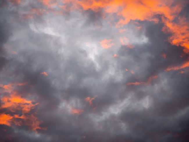 Backgrounds Beauty In Nature Cloud - Sky Cloudscape Dramatic Sky Full Frame Idyllic Low Angle View Meteorology Nature No People Orange Color Outdoors Overcast Scenics - Nature Sky Storm Sunset Tranquil Scene Tranquility
