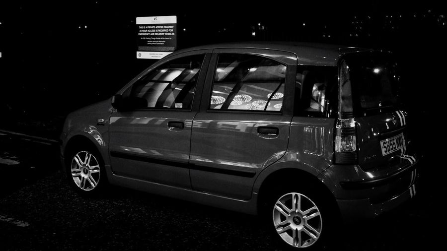 Car Transportation Land Vehicle Night No People Outdoors Blackandwhite Black And White Reflection Reflections Nightphotography The Drive
