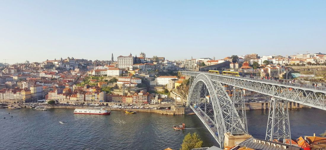 Panorama of Douro river and pont dom luis i in porto, portugal Old Town Porto Portugal Douro River Portugal Douro  River Water Panoramic View Panorama Landscape Cityscape Houses Town Ponte Dom Luís I Viewpoint City Cityscape Urban Skyline Sky Architecture