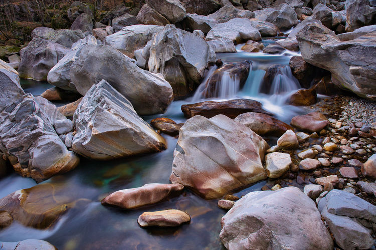 High angle view of rocks in river