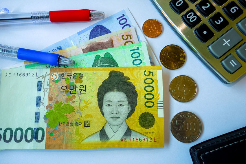 South Korean won currency and finance business. Business concept. ASIA Business Currency Dealing Economy Rich Share South Korea Affair Bank Cash Commerce Commerce, Buying And Selling, Dealing, Traffic, Trafficking, Business, Marketing, Merchandising; Dealings, Transactions, Deal-making Computer Credit Credit Card Exchange Finance Financial Money Note Trade Transactions Value Won