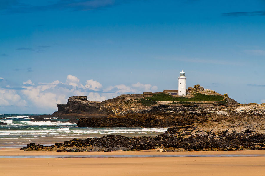 Lighthouse of Godrevy. Godrevy Beach Leuchtturm St Ives Bay St. Ives Cornwall Beach Blue Sky Cornwall England Godrevy Godrevy Lighthouse Leuchtturm Cornwall Leuchttürme Lighthouse_lovers Lighthousephotography Pilcher Rosamunde_pilcher Tide