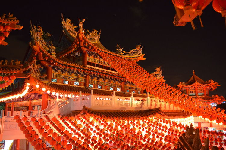 Building Chinese Lantern Lantern Low Angle View Night Place Of Worship Religion Roof Roof Tile