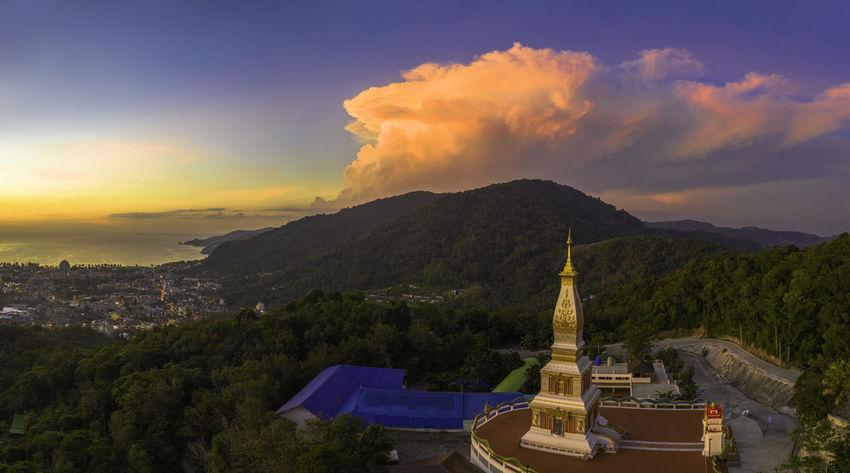 aerial view panorama scenery sunset above pagoda in Doi Thepnimit temple Patong Sunset,sunrise,sun Landscape,landmark, Pagoda Building Patong Beach Phuket Travel, Rocky, Bright, Sunshine, Nature Clouds And Sky Nature