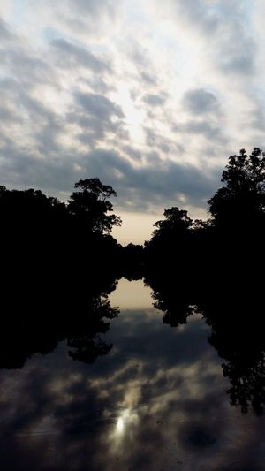 Dawn Cambodia Sky Tree Cloud - Sky Plant Water Silhouette Tranquility Reflection Nature Beauty In Nature Lake Tranquil Scene Scenics - Nature No People Outdoors Idyllic Standing Water