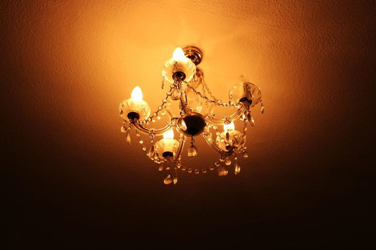 Illuminated No People Close-up Indoors  Fragility Hanging Gold Colored Low Angle View Luxury Indoors  Shiny Yellow Chandelier