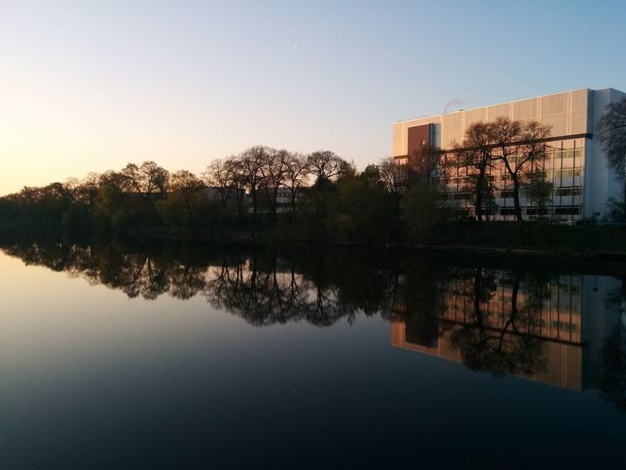 Reflection Water Building Windless Morning Light Trees