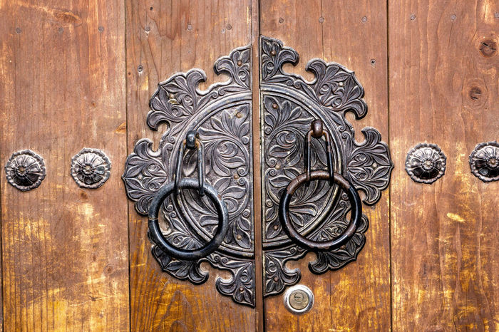 Door on a traditional house in Seoul, South Korea. ASIA Building Exterior Close-up Closed Day Design Door Doorknob Doors Key Knock Lock Locked Locks Metal Metalwork No People Old-fashioned Ornate Ornate Design Ornate Door Outdoors Pattern Protection Wood - Material