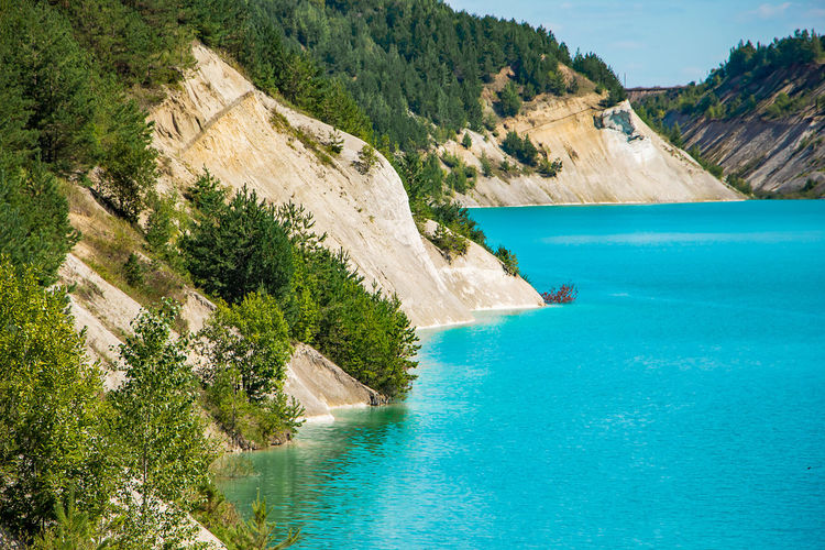 Chalk quarry in belarus. sunny summer day.