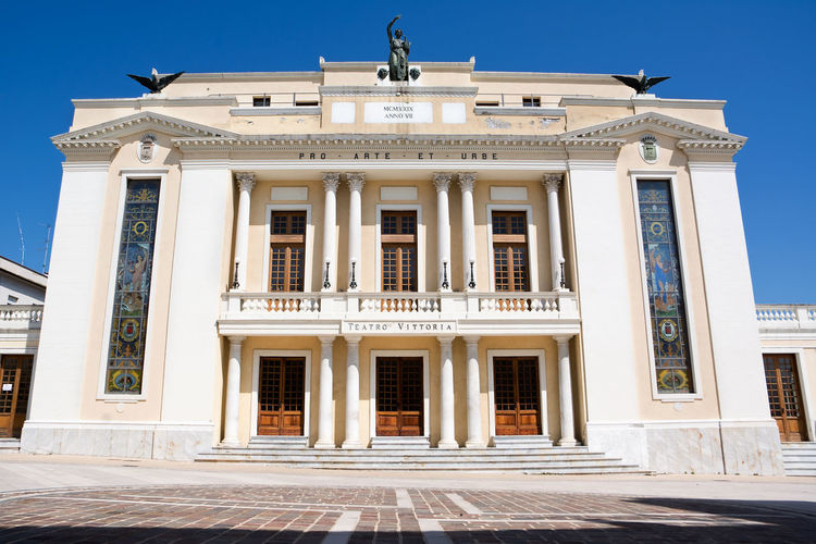 The Theatre Tosti of Ortona in Abruzzo (Italy) Abruzzo Architectural Column Architecture Bronze Building Exterior Built Structure Chieti Clear Sky Day Façade Façade Landmark No People Ortona Statue Theater Tosti Victory Vittoria