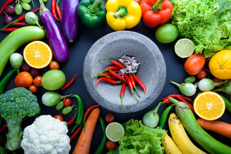 Directly above shot of various vegetables on table