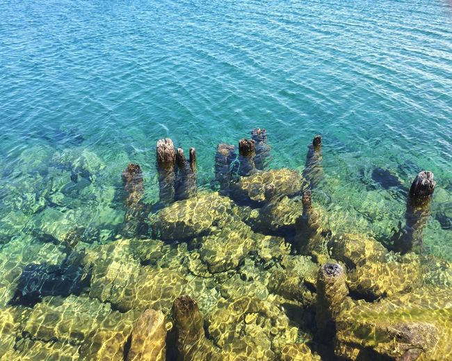 High angle view of old dock remains in lake