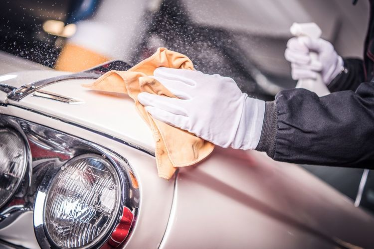 Classic Car Body Paint Restoration and Detailing. Men in White Gloves Cleaning Car Body. Cleaning Washing Adult Car Close-up Clothing Day Detailing Elégance Holding Human Body Part Land Vehicle Luxury Men Midsection Mode Of Transportation Motor Vehicle Outdoors People Transportation Wealth Women