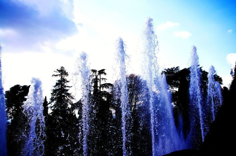 The Week On EyeEm Spraying Motion Fountain Water Pixelated Low Angle View Cloud - Sky Sky Blurred Motion Outdoors Long Exposure Day No People Nature Tree Power In Nature Beauty In Nature Eyem Nature Lovers  Freshness Forest Waterfall Tree