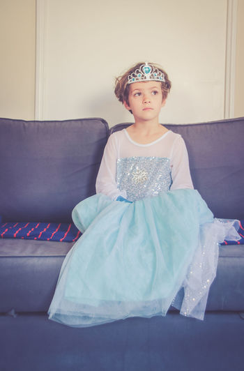 Disney SnowQueen Child Childhood Childhood Memories Clothing Cute Dress Dressing-up Clothes Fancy Fancy Dress Fashion Females Front View Girls Home Interior In The Clouds Indoors  Innocence Leisure Activity One Person Real People Sitting Snow Queen Sofa The Portraitist - 2018 EyeEm Awards