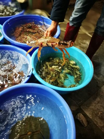 Crabs Seefood Captivity Food Vietnam One Person High Angle View Food And Drink Human Body Part People Food Day Outdoors Seafood Human Hand Only Women Healthy Eating One Woman Only Freshness Adults Only Adult Water Low Section Close-up