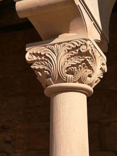 Architectural Column Architectural Feature Close-up Handwerk Kapitell Romanisch Romanische Blattkapitell Sandsteinsäule Steinmetzarbeit
