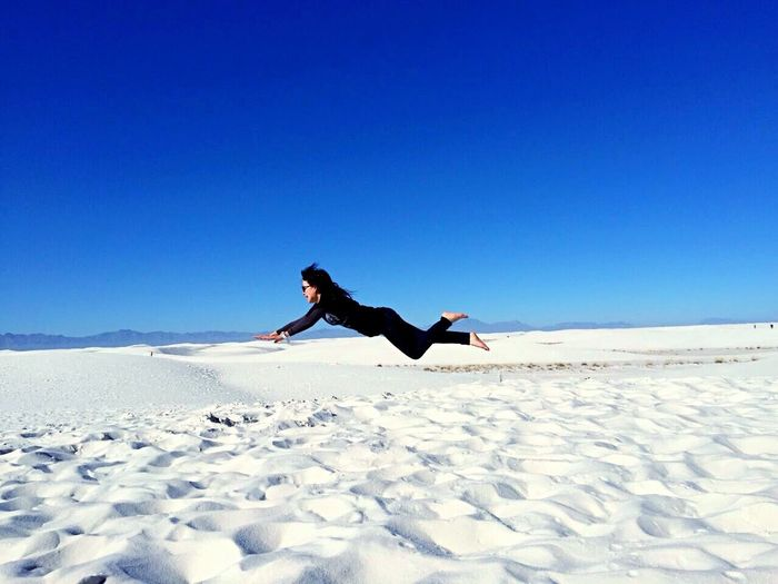 Flying High White Blue Clear Sky Nature Sky Jump Flying Flying Girl Is Me  The White Sands USA