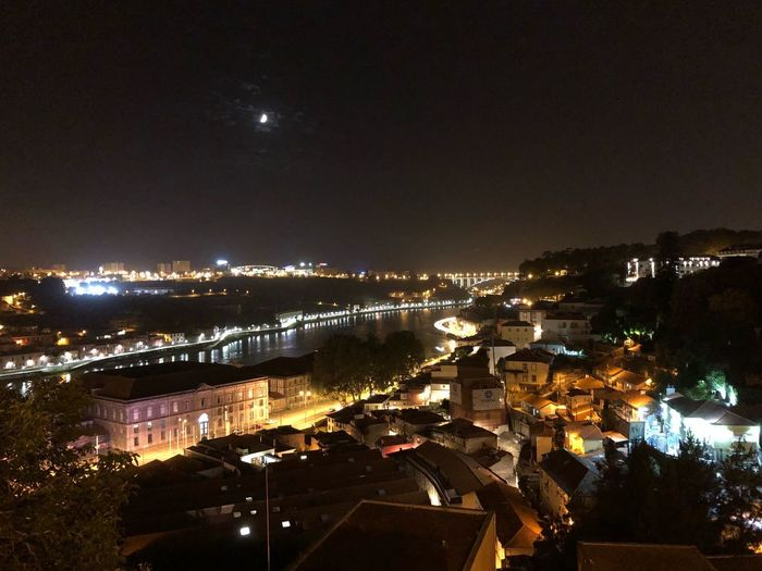 Portugal Oporto Douro  Oporto Riodouro Porto Night Illuminated City Architecture Water Sky No People Building Exterior Built Structure Light Reflection High Angle View Moon Cityscape Outdoors