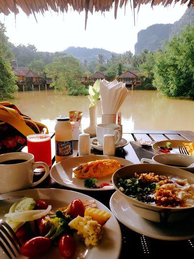 Breakfast Foodporn Ban Sainai Lake View Cliff View Sumptuous Sumptuous Meal Colour Of Life Color Palette