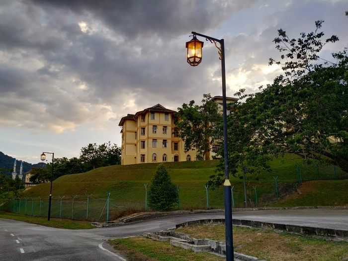 roadlamp and hostel Basketball - Sport Court Soccer Field Tree Basketball Hoop Sport Soccer Goal Post Playing Field Sky