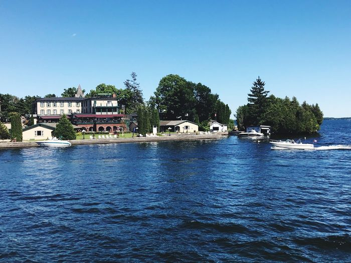 Island life Gananoque, Canada No People Rippled Outdoors Sea Nature Clear Sky Blue Day Built Structure Building Exterior Transportation Copy Space Architecture