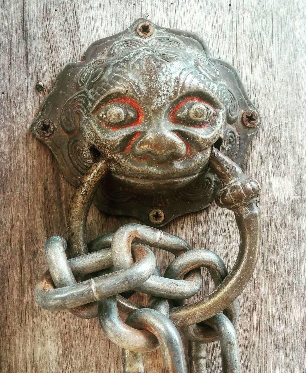 close-up, door, wood - material, metal, outdoors, no people, lion - feline, day