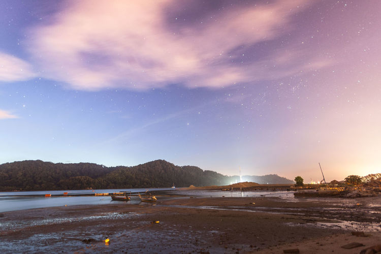 Mud texture with landscape view for background Sky Nature Water Scenics - Nature Tranquil Scene Cloud - Sky Tranquility Beauty In Nature Star - Space Astronomy Night Space Mountain Land Galaxy No People Beach Dusk Sea Outdoors Milky Way
