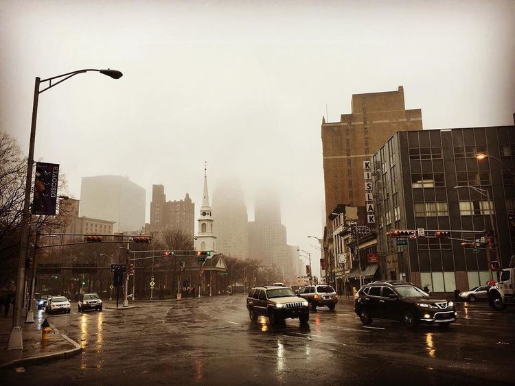 Rain Fog Downtown Newark Buildings SrreetPhoto