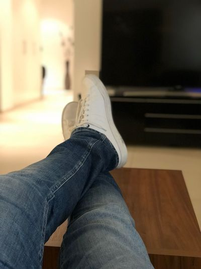 chilling 🤷🏻♂️ Indoors  Human Leg Human Body Part One Person Low Section Personal Perspective Home Interior Casual Clothing Sitting Close-up Lifestyles Real People Jeans Day Men