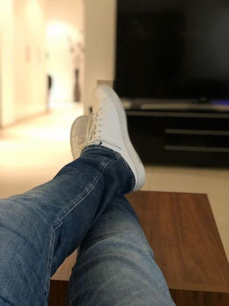 chilling 🤷🏻‍♂️ Indoors  Human Leg Human Body Part One Person Low Section Personal Perspective Home Interior Casual Clothing Sitting Close-up Lifestyles Real People Jeans Day Men