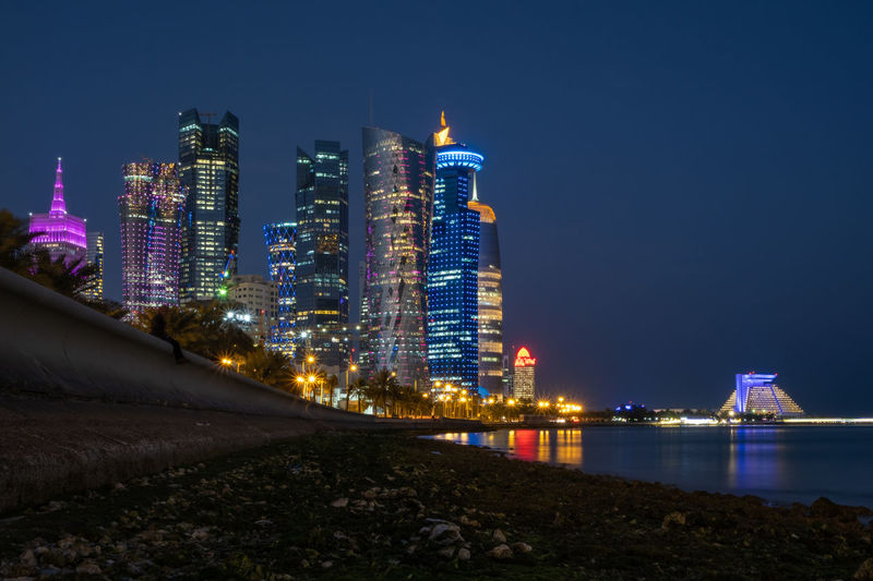 West bay doha at night, qatar, middle east.