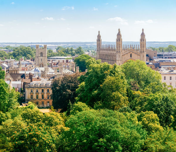 Great St Mary's Church and King's College Chapel Amazing View Gothic Rooftop Architecture Building Building Exterior Built Structure Cambridge City Cityscape Day Green Color Growth High Angle View History Medieval Nature No People Outdoors Plant Sky The Past Travel Travel Destinations Tree