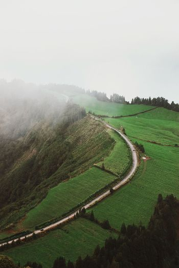 """""""Land of dreams"""" Autumn Azores Island Fog Aerial View Adventure Travel Field Agriculture Plant Growth Landscape Scenics - Nature Land Beauty In Nature Tranquil Scene Environment Tranquility Nature No People Sky Outdoors Green Color Day Rural Scene"""