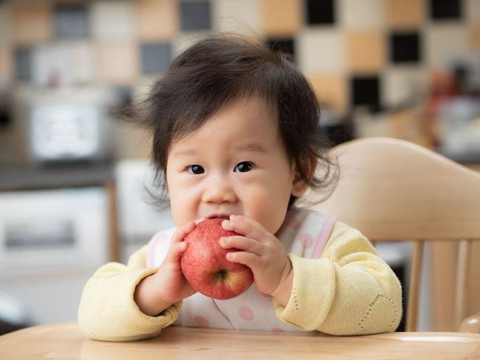 baby gril eat apple first time Apple Baby Black Hair Childhood Close-up Cute Day Eating Focus On Foreground Food Food And Drink Holding Home Interior Indoors  Lifestyles Looking At Camera One Person People Portrait Real People