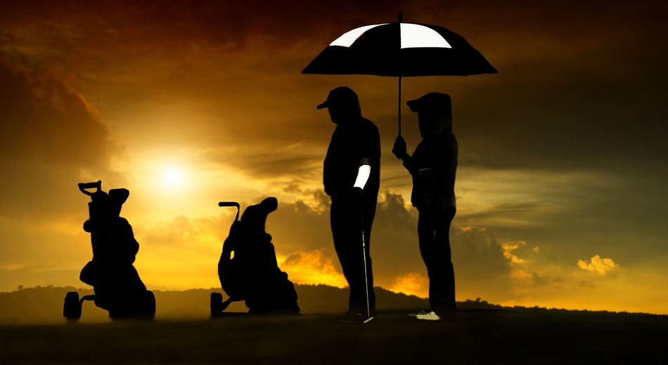 Day Golf Golf Club Golf Course Golfer Leisure Activity Men Nature Outdoors People Silhouette Sky Sport Sunset