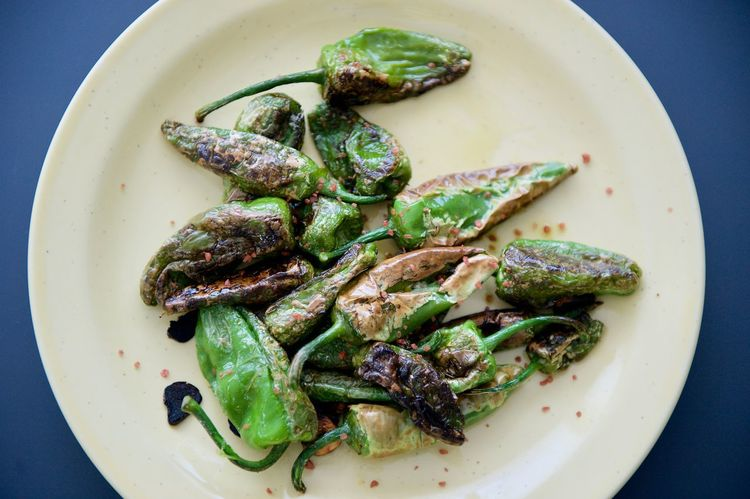 Charred peppers ready to eat. Charred Close-up Day Food Food And Drink Freshness Healthy Eating High Angle View Indoors  No People Padron Peppers Peppers Plate Ready-to-eat Serving Size