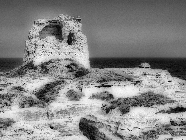 Italy Italia Puglia Melendugno Le  Nikon E4500 Nikon B&w Bianco E Nero Torre Tower Mare Sea Water Day Daylight Outdoor Adriatico Adriatic Sea Adriatic Coast Costa Adriatica Costa Mar Mediterráneo Mediterranean Sea Mediterraneo