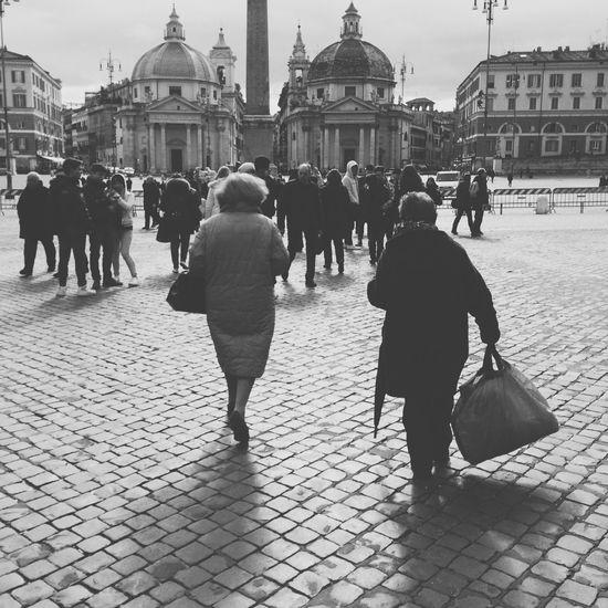 Blackandwhite Rome Poetry Duality Nostalgia Streetphoto_bw People Old Architecture Beautiful Women