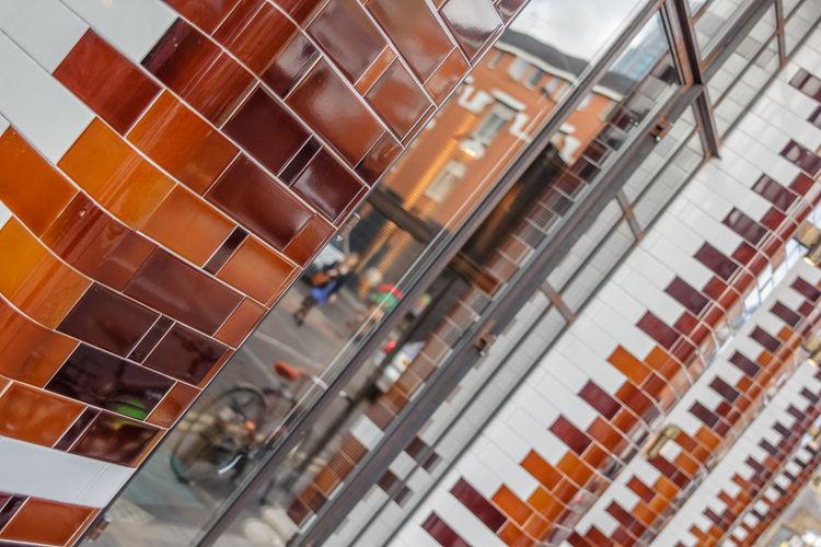 Glazed bricks on London pub exterior EyeEm LOST IN London Glazed Pub Reflection Architecture Bricks Built Structure Day Indoors  Modern No People