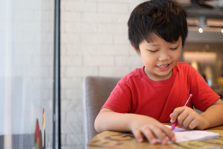 Portrait of boy looking at table
