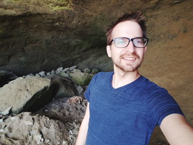 Cave Rock Cave Beach Cave Inside Cave EyeEm Selects Portrait Eyeglasses  Smiling Looking At Camera Happiness Men Confidence  Cheerful Beard Mid Adult Rock Formation Eroded Geology Physical Geography