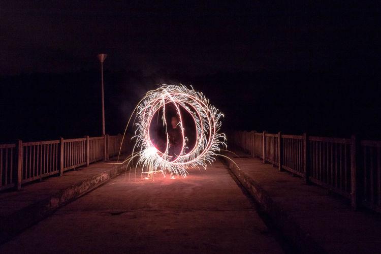 Wire Wool Illuminated Fireball Long Exposure Motion Burning Light Painting Circle Light Trail Tail Light