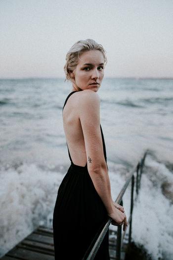 International Women's Day 2019 Water Young Women Real People Sea Beach Summer Waves Splashing Breaking Moody Sunset Blue Hour
