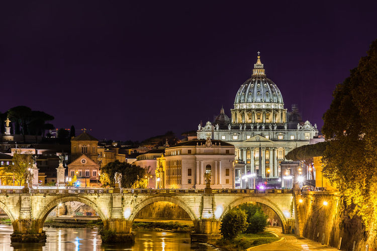 Illuminated Cathedral At Night Against Clear Sky