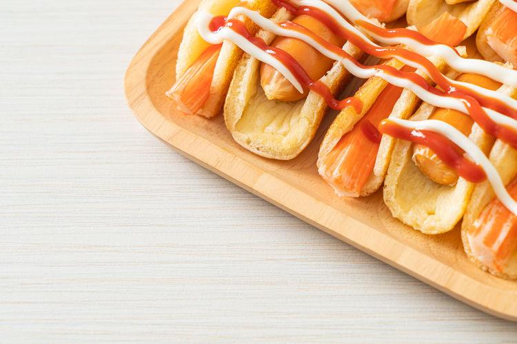 High angle view of hot dog on table
